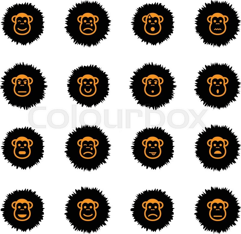 Monkey emotions vector icons for web sites and user interface, vector