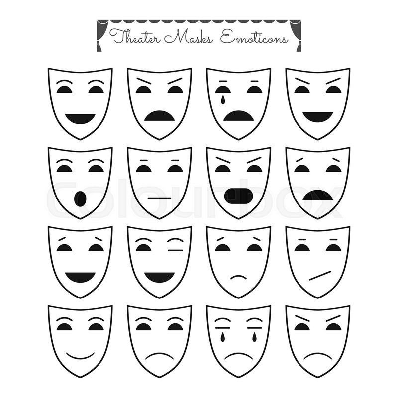 set of outline theatrical masks  icons  emoticons  different characters and emotions for design
