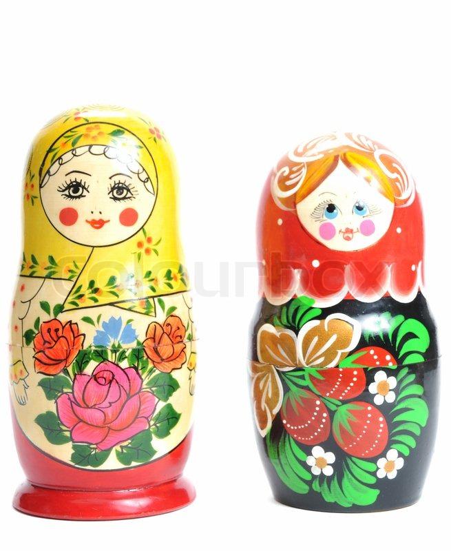 Matreshka doll isolated on white Matreshkas | Stock Photo ...