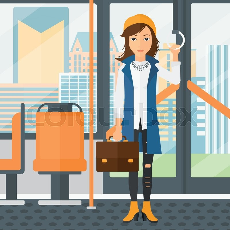 A woman with a suitcase standing inside public transport vector flat design illustration. Square layout, vector