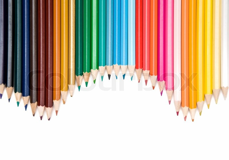 colored pencils frame arranged on white background | stock photo, Powerpoint templates
