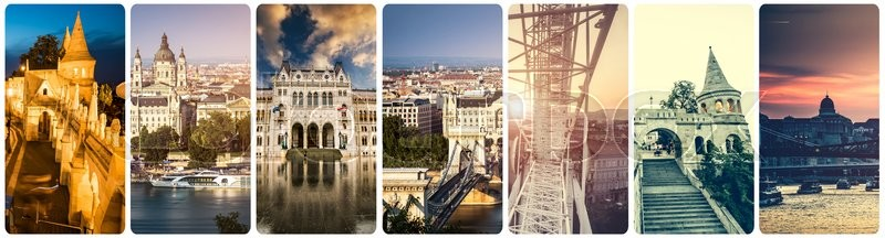 Collage Of Different Famous Budapest Sights At Night Stock Photo