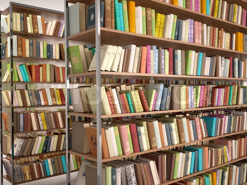 3d illustration of Bright and modern books on the shelves in the library, stock photo