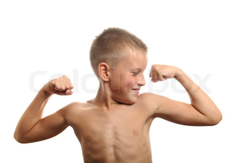 Young men flexing biceps