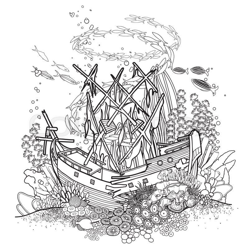 Line Art Underwater : Ancient sunken ship and coral reef drawn in line art style