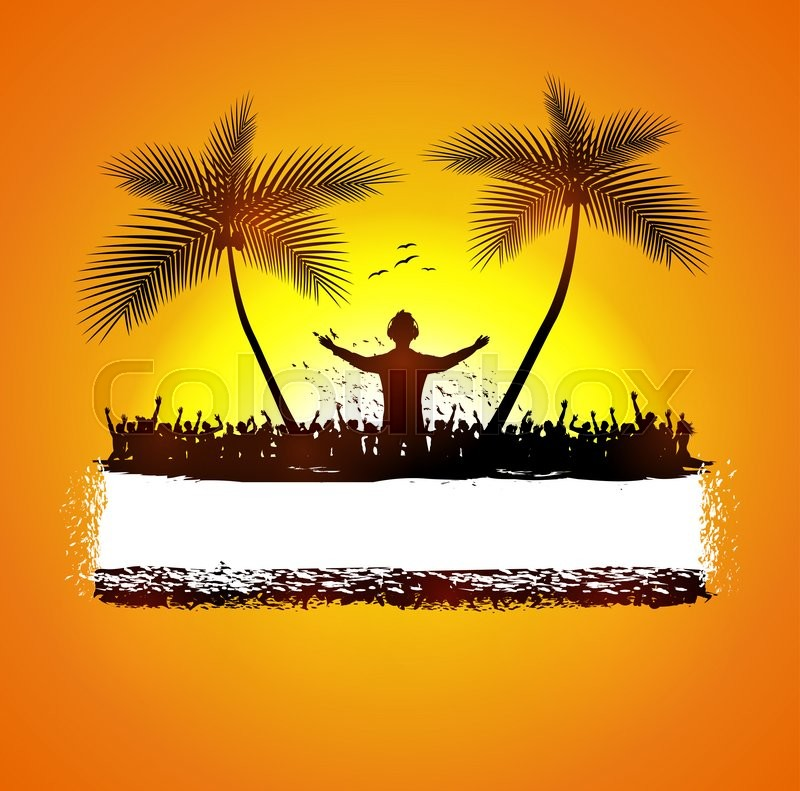 Illustration of Summer beach party with dance silhouettes, stock photo