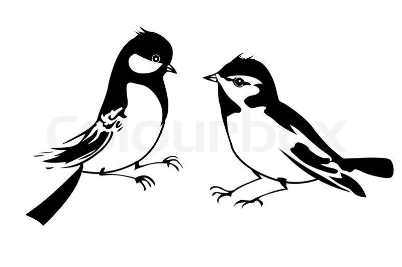 vektor silhouette des kleinen vogel auf wei em hintergrund vektorgrafik colourbox. Black Bedroom Furniture Sets. Home Design Ideas