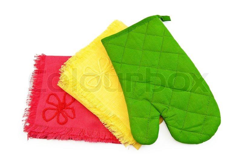 Küchentücher gelb und rot, grün Topflappen in Form von Handschuhen ...
