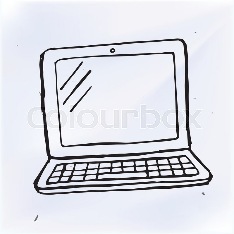 Hand draw doodle laptop, computer     | Stock vector | Colourbox