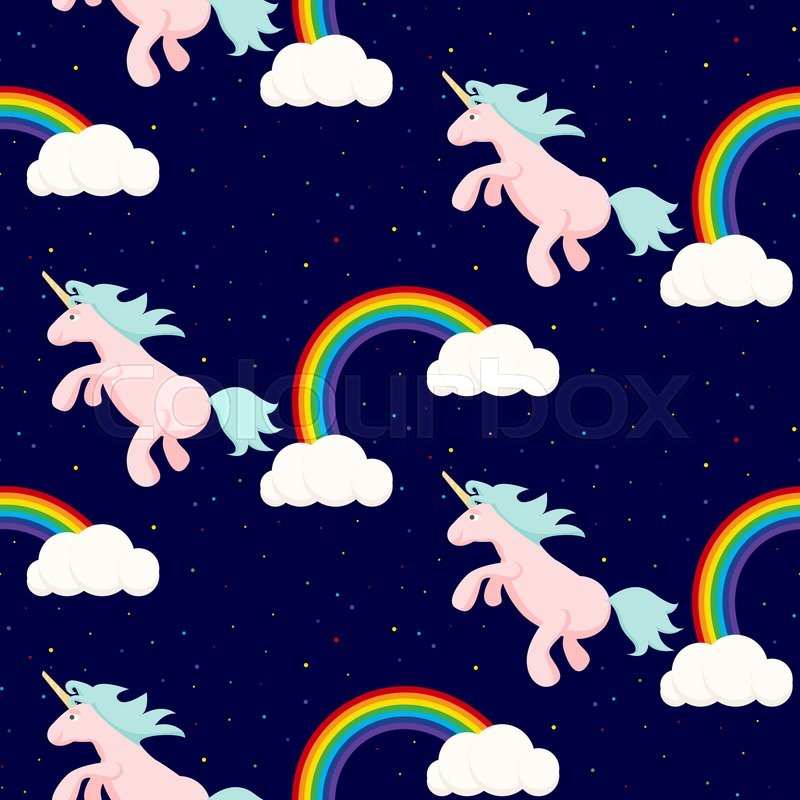 Cute unicorn child seamless vector pattern in night sky ...