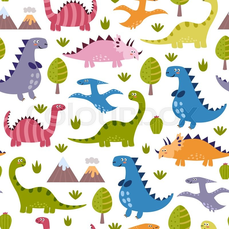 Cute Dinosaurs Seamless Pattern Vector Texture In Childish Style Great For Fabric And Textile Wallpapers Web Page Backgrounds Cards Banners Design