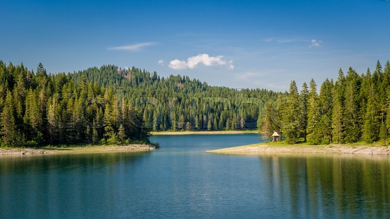 Small wooden house at the mountain lake shore. Thick coniferous forests at Black Lake, national park Durmitor, Montenegro, stock photo