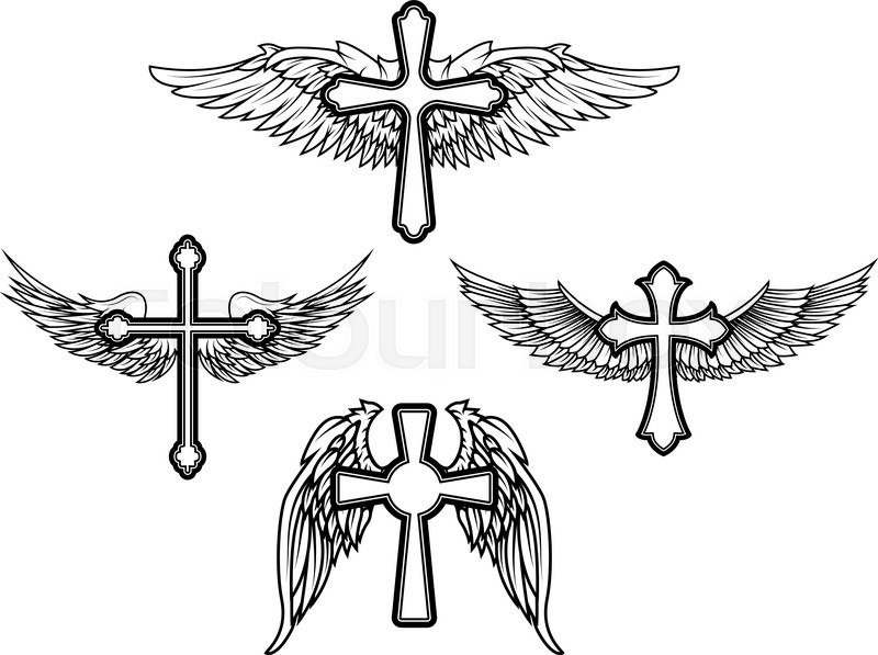 Set Of The Vector Cross And Wings Tattoo Design Elements