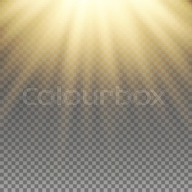 Stock Vector Of Yellow Warm Light Effect Sun Rays Beams On Transparent Background