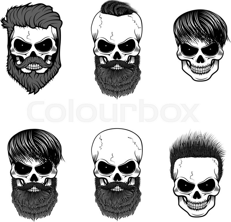 Set Of Bearded Skulls With Beard And Hair Vector Design Elements For Label Logo Emblem Poster T Shirt Print Template