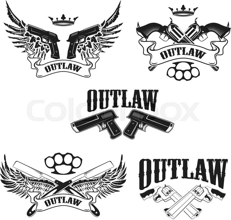 Set of outlaw t shirt print design templates guns with for T shirt printing template