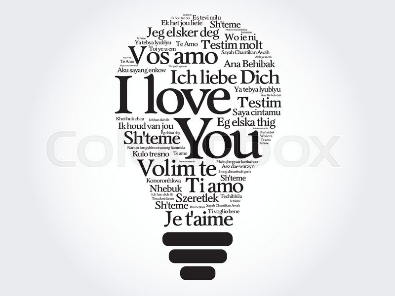 Love Bulb With Words I Love You In All Languages Of The World Word Cloud Stock Vector Colourbox