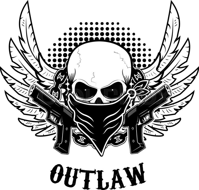 Cool Skull Logos With Guns Outlaw t-shirt ...