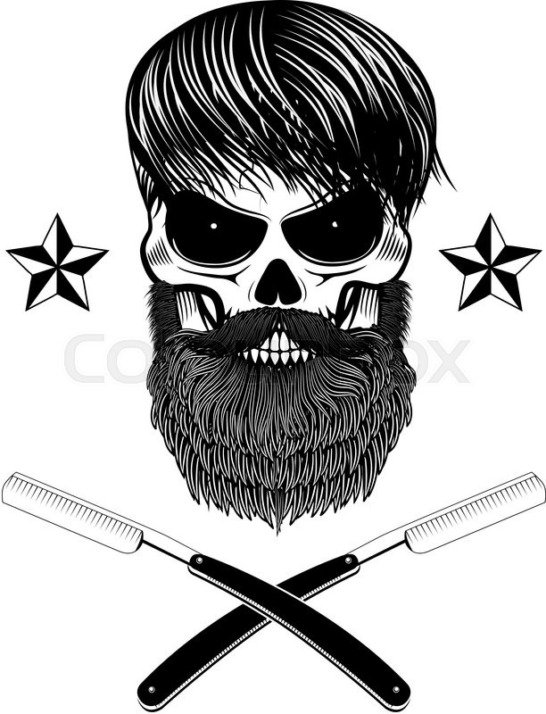 Skull With Beard And Two Shaving Blades T Shirt Print