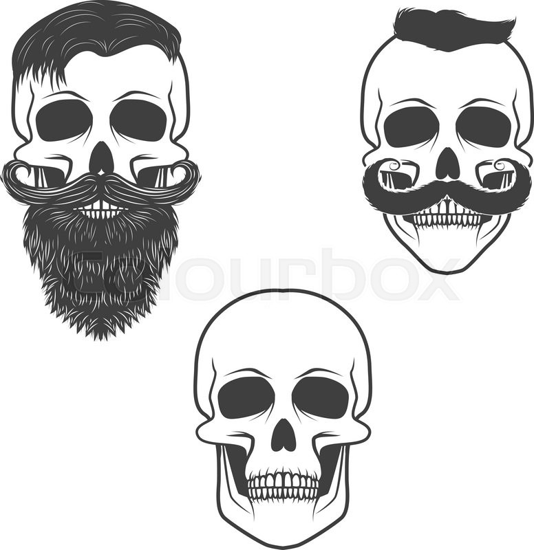 Set Of Skulls With Mustache And Beard Retro Vector Design Graphic - T shirt graphic design template