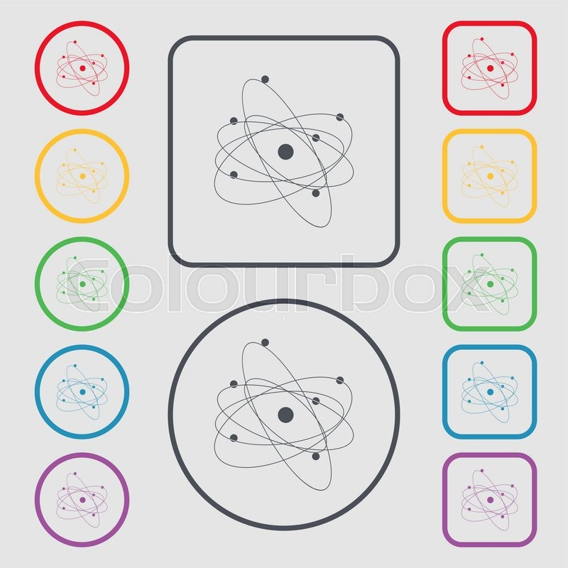 Physics Atom Big Bang Icon Sign Stock Vector Colourbox