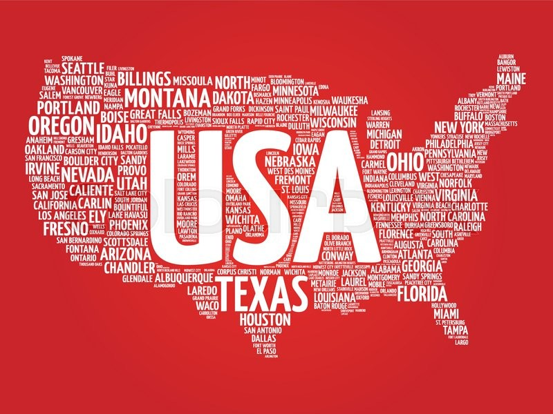 USA Map Word Cloud Made With Words Cities Names Vector Collage - Us map collage