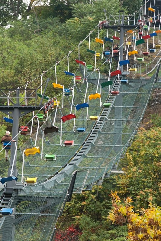 Funicular Railway With Varicoloured Easy Chair In Zoo Of