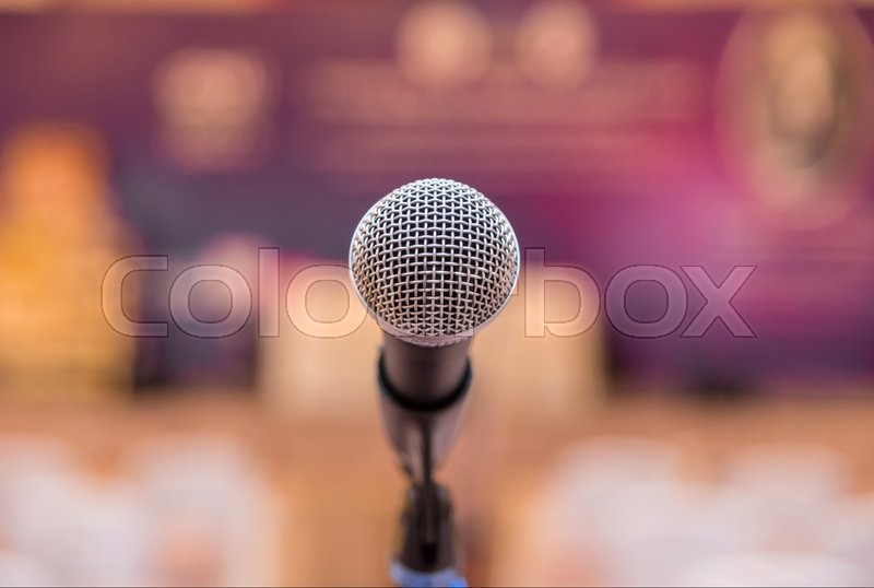 Microphone in meeting room before a conference, stock photo