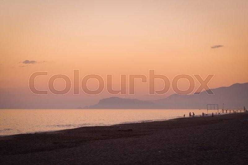 KEMER, TURKEY - MAY, 2013: May warm evening on the Black sea. Sunset on sea in Turkey, Kemer, stock photo