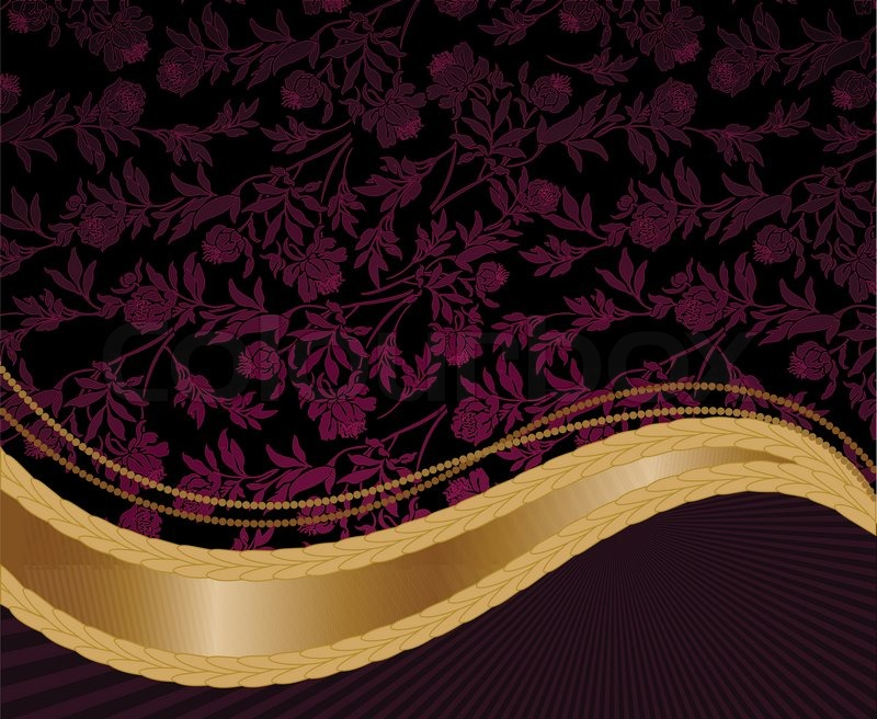 solemn purple floral background with a golden wave stock