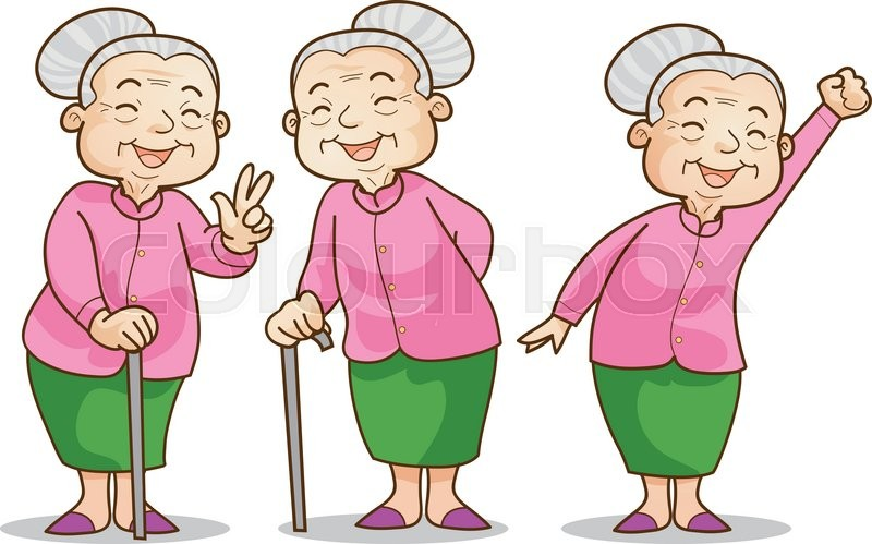 funny illustration of old woman cartoon character set