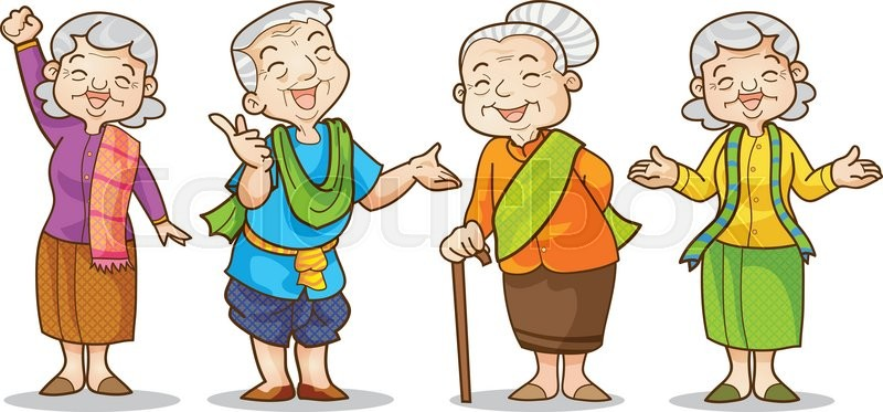 funny illustration of old man and woman in traditional costume