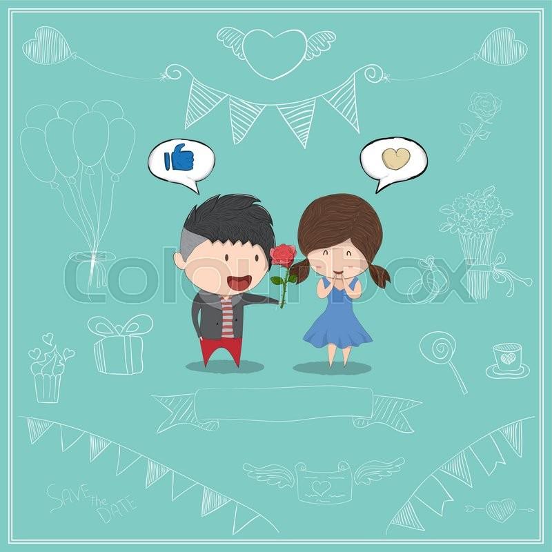 Cute Cartoon Boy Give Rose Girl Card Cute Valentine S Day Card