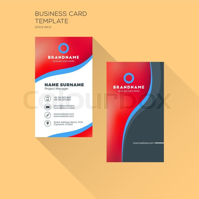 Vertical business card print template personal business card with vertical business card print template personal business card with company logo black and blue colors clean flat design accmission Images