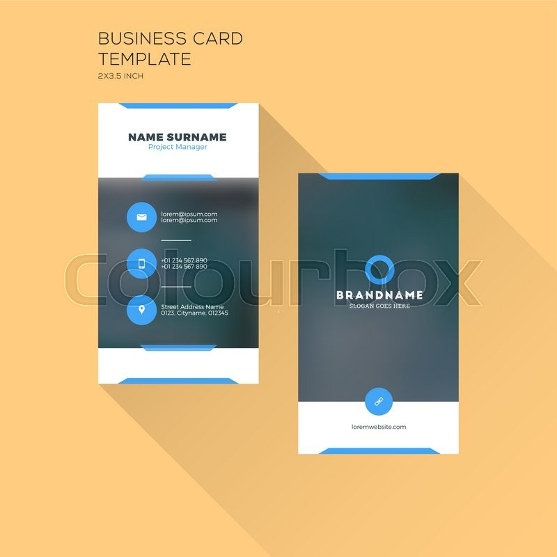 Vertical business card print template personal business card with vertical business card print template personal business card with company logo black and blue colors clean flat design flashek