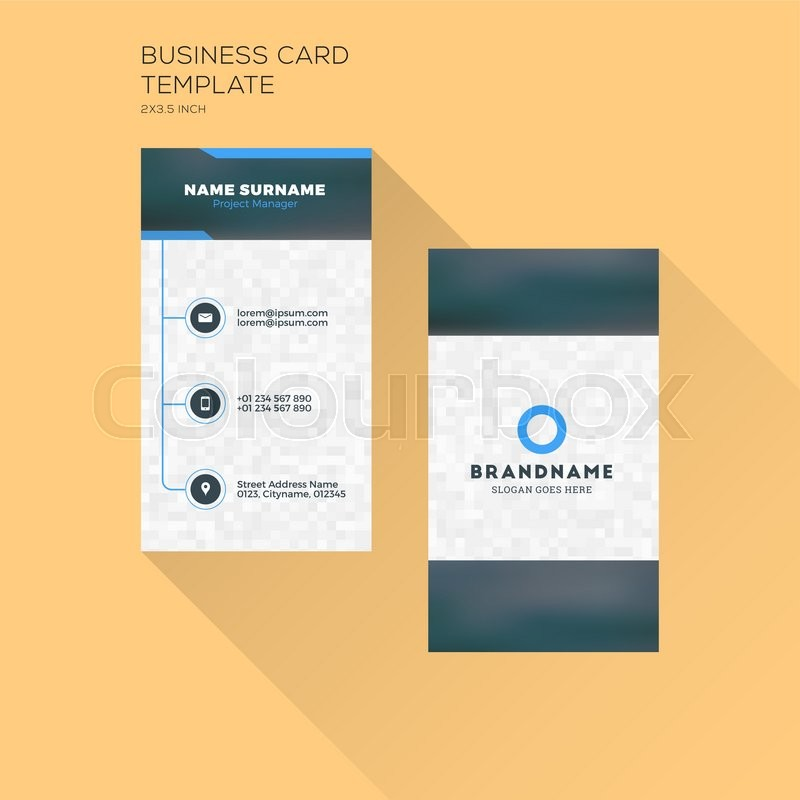 Vertical business card print template personal business card with vertical business card print template personal business card with company logo black and blue colors clean flat design accmission