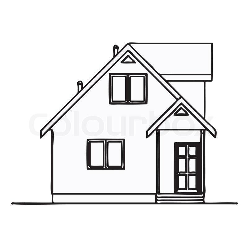 haus gezeichnet wirtschaftlich vektorgrafik colourbox. Black Bedroom Furniture Sets. Home Design Ideas