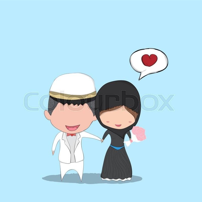 Cute Cartoon Wedding Couple Men And Women Islam Marriage Cute