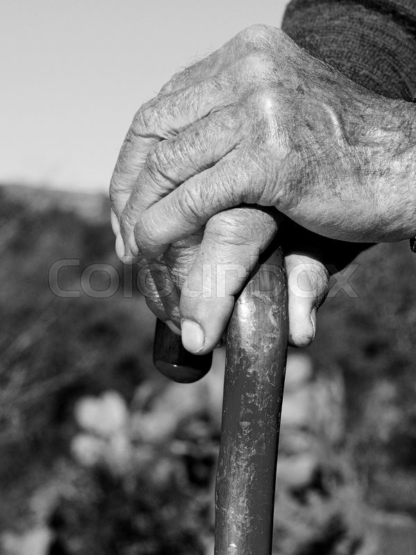 Black white picture of the hands of an old man that cling to the stick in search of support stock photo colourbox