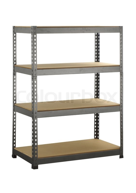 Metal Industrial Storage Shelves. Isolated On A White Background | Stock  Photo | Colourbox