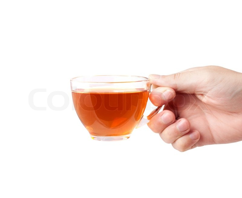 a cup of tea and a hand isolated on white background stock photo