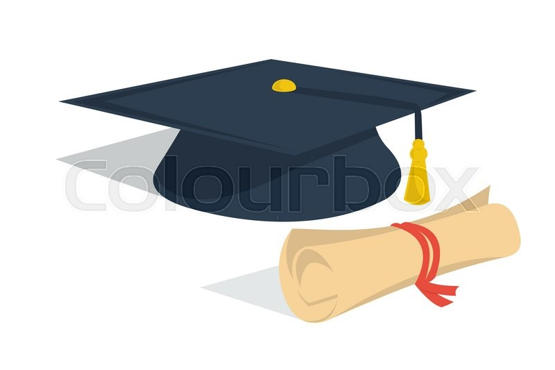 Vector Isolated Illustration Student Hat And Diploma Roll