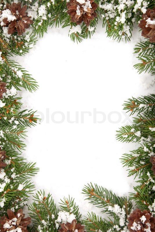 weihnachten rahmen mit schnee isoliert auf wei em hintergrund stockfoto colourbox. Black Bedroom Furniture Sets. Home Design Ideas