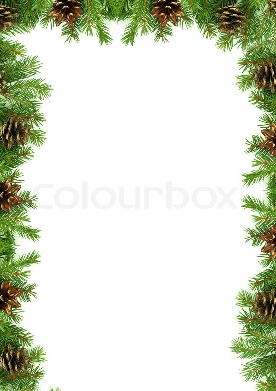 Julen rammer med sne isoleret på hvid baggrund | stock foto | Colourbox