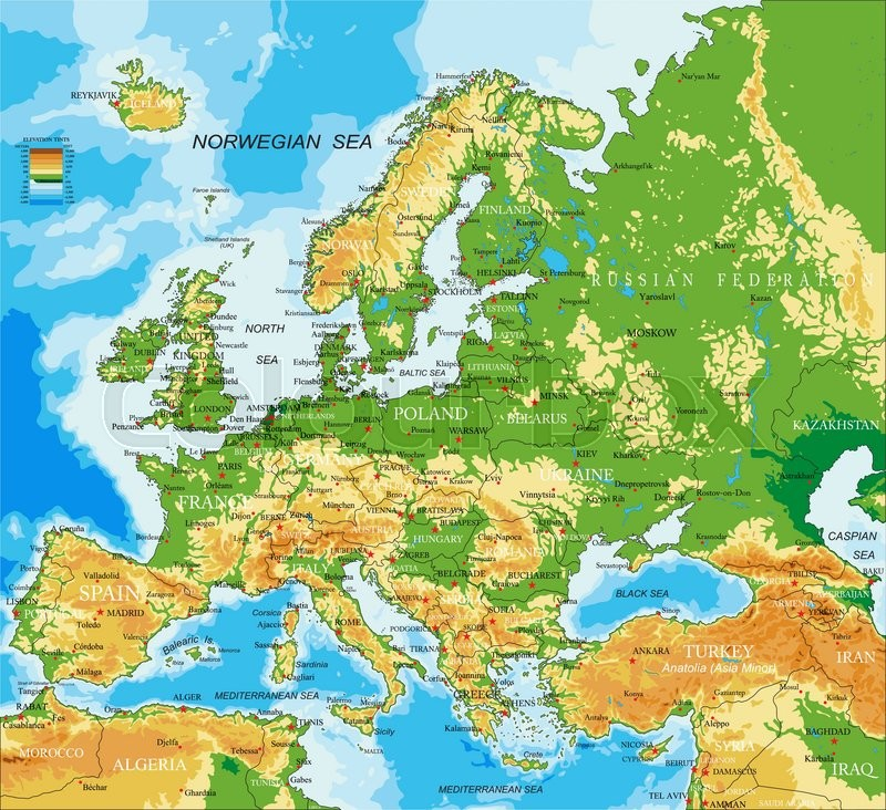 Highly Detailed Physical Map Of Europein Vector Formatwith All: Europe Relief Map At Slyspyder.com