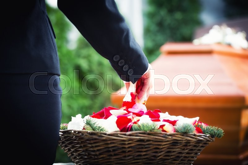 Woman on funeral putting rose petals on coffin, stock photo