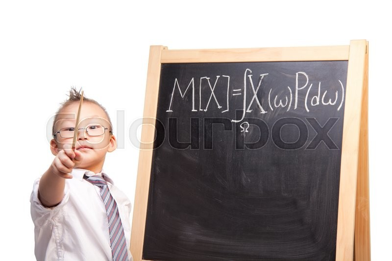 Stock image of 'Little boy with pointer standing by the blackboard with mathematical expectation formula written and showing how clever he is'