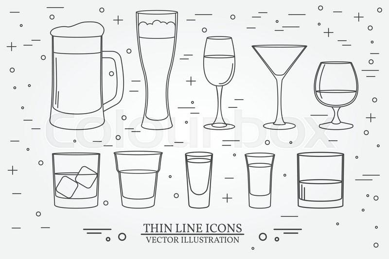 glasses for alcoholic drinks beverage cocktail drinks vector thin line symbol icon beer. Black Bedroom Furniture Sets. Home Design Ideas