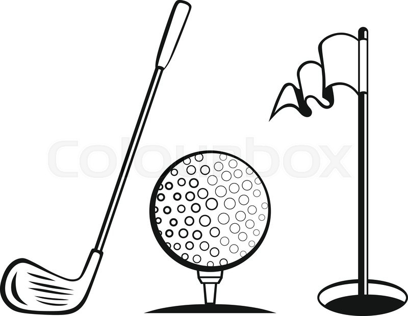 golf icon set golf flag golf ball and golf stick stock vector rh colourbox com golf vector free golf vector logo