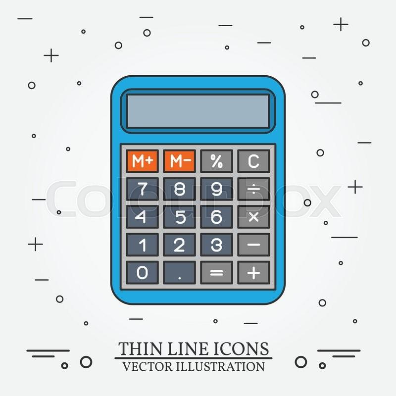 calculator thin line design calculator pen icon calculator pen